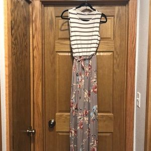 Striped and flora maxi dress